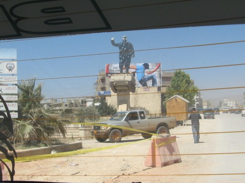 Entrance to Baalbek, Lebanon.  Effigy of Imad Mugniyeh on a tank (photo: Arun Kapil)