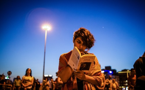 Reading Albert Camus in Taksim Square (photo: George Henton/Al Jazeera)
