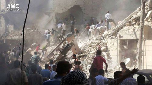 Aleppo after army shelling, August 26 2013 (AMC/AP Photo)