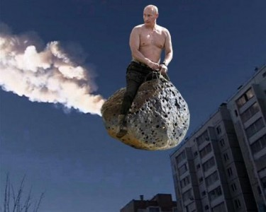 Putin riding a meteorite via Global Voices
