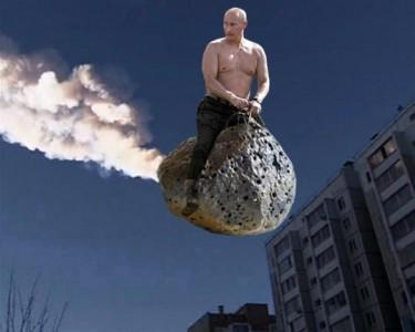 Putin riding a meteorite via Global Voices