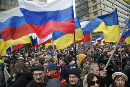 Anti-Putin demonstration, Moscow, March 15 2014 (Photo: AP/TOPIX)