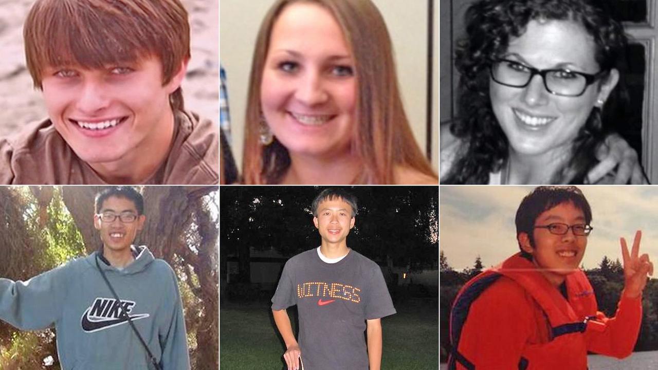 The six Isla Vista massacre victims, from top left: Christopher Michaels-Martinez, Veronika Weiss, Katie Cooper, Cheng-Yuan Hong, George Chen, Weihan Wang.  (Credit: abc7.com)