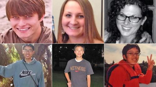 The six Isla Vista massacre victims, from top left: Christopher Michaels-Martinez, Veronika Weiss, Katie Cooper, Cheng-Yuan Hong, George Chen, Weihan Wang.  (Credit: abc7.com)
