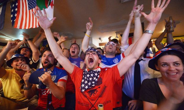 Cheering Team USA against Ghana at Jack Demsey's, New York City, June 16th  (photo credit: Getty)