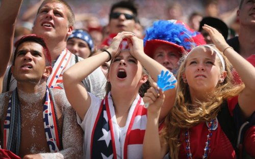 Watching Belgium-USA on the big screen at Soldier Field, Chicago, July 1st (photo: Scott Olson/Getty Image)