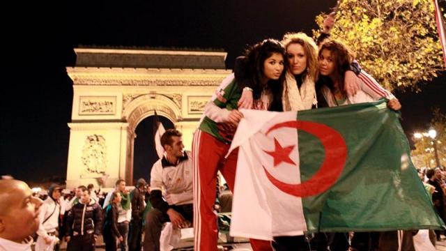 Celebrating Algeria's World Cup qualifying victory over Egypt, November 18 2009
