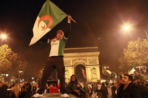 Celebrating Algeria's World Cup qualifying victory over Burkina Faso, November 19 2013