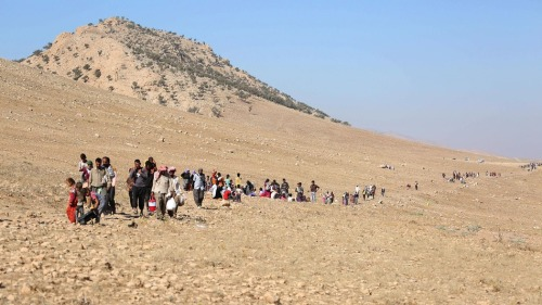 Yazidis in the Sinjar mountains (photo: Emrah Yorulmaz/Anadolu Agency/Getty Images)