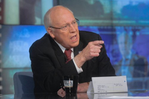 Dick Cheney defending torture on 'Meet the Press', December 14th (photo: William B. Plowman/NBC News, via Reuters)