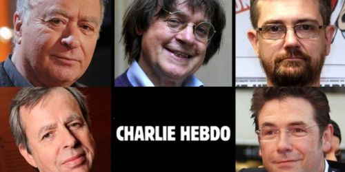 Top: Georges Wolinski, Jean Cabut (Cabu), Stéphane Charbonnier (Charb)  Bottom: Bernard Maris, Bernard Velhac (Tignous) (Image credit: AFP/Metronews)