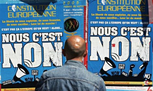 Posters pushing for a no vote for the French referendum on the EU constitution in Marseille