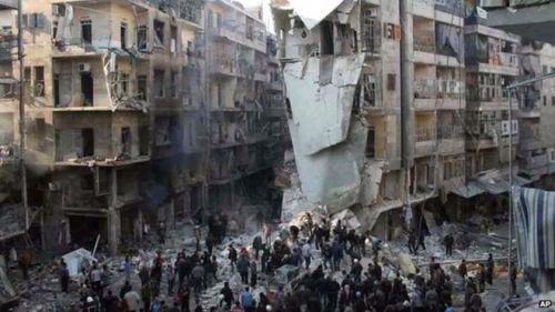 Barrel bomb attack, Aleppo, December 2013 (photo: Aleppo Media Centre)