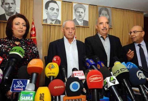 Tunisian National Dialogue Quartet: Wided Bouchamaoui (UTICA), Houcine Abassi (UGTT), Abdessattar Ben Moussa (LTDH), Mohamed Fadhel Mahfoudh (ONAT), 21 September 2013 (photo: Fethi Belaid/AFP)