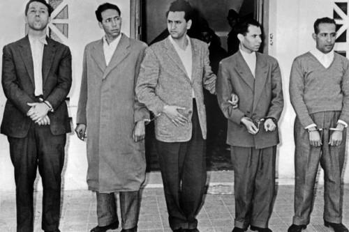 Algiers, 22 October 1956: Ahmed Ben Bella, Mohamed Boudiaf, Hocine Aït Ahmed, Mostefa Lacheraf, Mohamed Khider (photo: AFP)