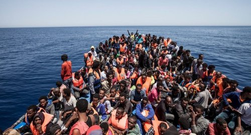 Off the coast of Libya, May 14 2015 (photo credit: Reuters/MOAS/Jason Florio)