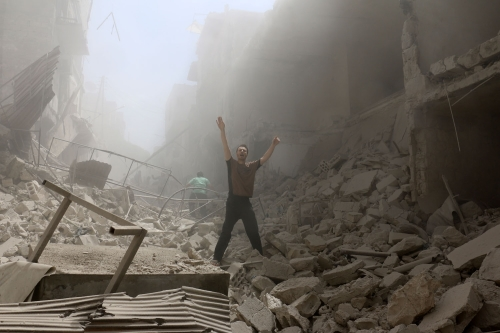 Aleppo, April 28th (photo credit: AFP/Ameer Alhalbi)