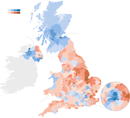 Blue = Remain, Red = Leave (credit: The New York Times)