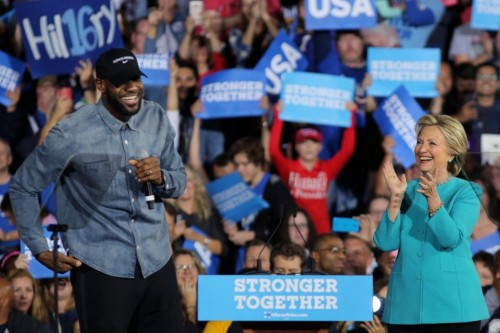 LeBron & Hillary, Cleveland, November 6th (photo: Carlos Barria/Reuters)
